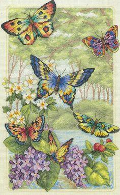 Butterflies, forest, flowers