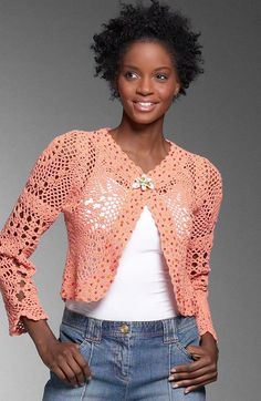 Beaded Crochet Cardigan. Tailored shoulders