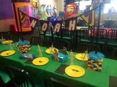 Party table at a Lego birthday party! See more party ideas at CatchMyParty.com!