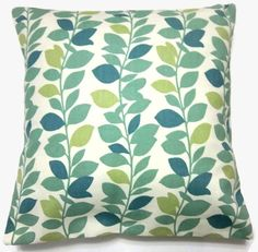 Teal and Apple Green pillow. Green Pillow Covers, Green Pillows, White Pillows, Decorative Pillow Covers, Pony Wall, Playroom Storage, Shades Of Teal, Vine Design, Leaf Garland