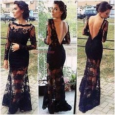 Sexy Black Lace Long Sleeve Backless Prom Dress Wedding Formal Evening Long Gown #unbranded #BallGown #Formal