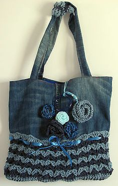 HANDMADE FABRIC +CROCHETED BAG DIRECTLY FROM THE ARTIST ONE OF A KIND TOTE