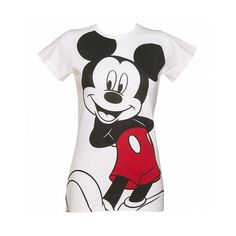 Ladies Vintage White Mickey Mouse T-Shirt from Fabric Flavours ($23) ❤ liked on Polyvore