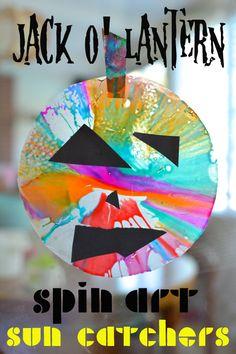 Jack O' Lantern Spin Art Sun Catchers