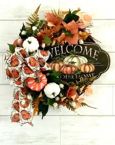Your place to buy and sell all things handmade Fall Deco Mesh, Deco Mesh Wreaths, Fall Wreaths, Wreath Ideas, Diy Wreath, Grapevine Wreath, Front Door Decor, Fall Halloween, Floral Wreath