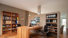 Earth Tones and Built-Ins: An Open and Integrated Home Office