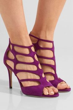 Heel measures approximately 85mm/ 3.5 inches Purple suede Zip fastening along back  Designer color: Madeline  Made in Italy
