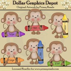 Crayon Monkeys - Clip Art - $1.00 : Dollar Graphics Depot, Quality Graphics ~ Discount Prices