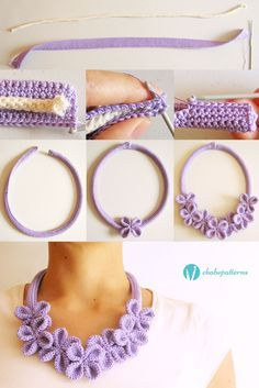 Flower necklace #3, free pattern, photo tutorial, written instructions/ Collar…