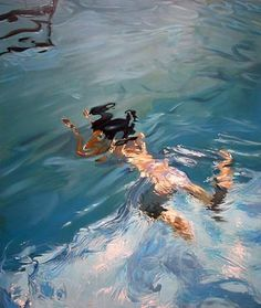 Maggi Hambling: superb rendition of light on the water and swimming motion.Admired by Secret Art collector.