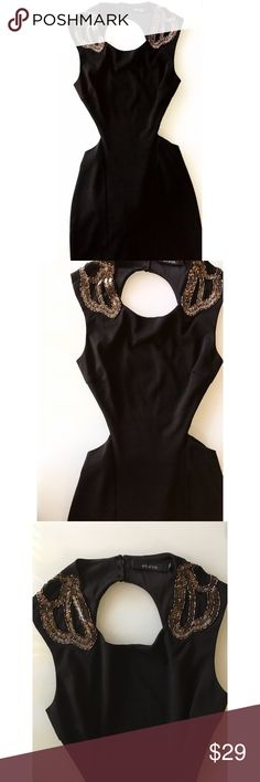 Ark & Co black cut-out dress with beaded shoulders Ark & Co black cut-out pencil dress with beaded shoulders. Size medium. Open back. Cut outs on the waist. Used but great condition! Ark & Co Dresses