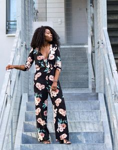 This floral print jumpsuit is right on trend for the spring/summer season. Im showing you how to create a more edgy look by adding leather to it Outfit Posts, My Outfit, Outfit Of The Day, Edgy Look, Ootd Fashion, What I Wore, Floral Prints, Jumpsuit, Stylists
