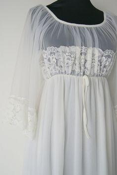 Vintage chiffon Wedding Night White Goddess Gown