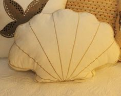 seashell rug | Perfect Shell Pillow! Fan shell shaped pillow has embroidered ...