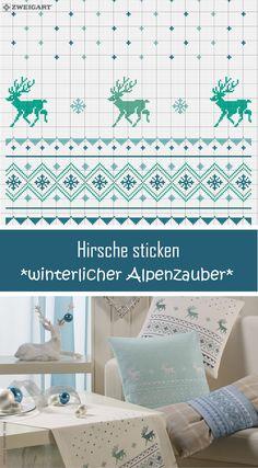 Tischläufer & Kissen mit Hirschen in Blau sticken #Sticken #Kreuzstich / #Weihnachten - #Hirsch; #Embroidery #Crossstitch / #Christmas – deer /  #ZWEIGART