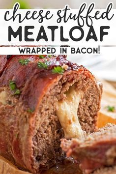 This homemade Mozzarella Stuffed Bacon Wrapped Meatloaf is stuffed with melty cheese and wrapped in plenty of bacon for an easy comforting family dinner. The recipe is cooked without ketchup and smothered in a BBQ sauce glaze instead - and. Classic Meatloaf Recipe, Good Meatloaf Recipe, Meat Loaf Recipe Easy, Meat Recipes, Cooking Recipes, Cheese Recipes, Meatloaf Recipe Without Ketchup, Turkey Recipes, Stuffed Meatloaf Recipes