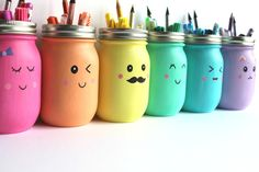 "You'll put a big smile on your kids' faces with these Kawaii Inspired DIY Painted Mason Jars. Kawaii is the Japanese term for ""cute"" or ""charming,"" and it's all too fitting for this easy mason jar craft! Pot Mason Diy, Mason Jar Crafts, Bottle Crafts, Coffee Jar Crafts, Diy For Kids, Crafts For Kids, Fun Crafts, Diy And Crafts, Recycled Crafts"