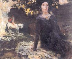 Jan Preisler Zena a jezdec u Cerného jezera 1903 Photo, Fine Art, Figure Painting, Painter, Mucha, Painting, Art, Alfons Mucha, Paul Gauguin