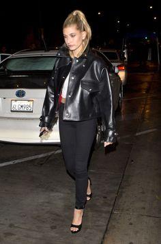 63831c34866d Hailey Baldwin Hailey Baldwin Style, Leather Jacket Outfits, Model Street  Style, Stylish Girl