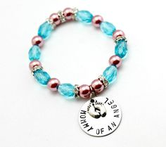 Pink and blue Hand stamped Infant Loss Awareness bracelet by CICinspireme, $26.00