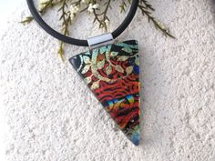 Red Black Gold Necklace Dichroic Jewelry Dichroic by ccvalenzo