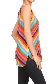 SLEEVELESS KNIT MULTI COLOR ZIG ZAG SUBLIMATION TANK TOP