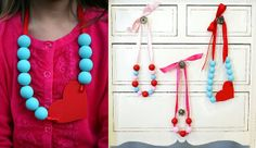 Valentine's Day DIY Necklace Ideas by Eighteen25 via lilblueboo.com    Adorable!!!  Should do this for my teacher gal pals to wear on Valentine's Day...