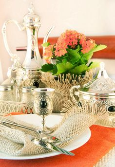 Silver Service with orange accents