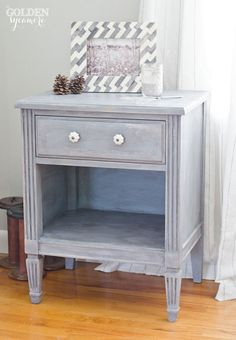 Miss Mustard Seed Milk Paint Night Stand in Dried Lavender and MMS Furniture Wax