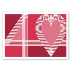 Ruby 40th wedding anniversary card handmade 40 & heart typography ruby red blank or optional / personalised message inside