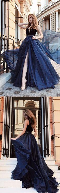 navy blue long prom dress with side slit, elegant formal tulle evening party dress