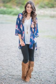 Texas Dust Flower Crown Bull Skull Kimono (Navy)