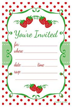 Strawberry Invitations - Birthday, Baby or Bridal Shower - Fill In Style by m&h invites