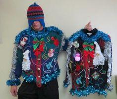 FRANKENSTEIN FESTIVE FROCK UGLY CHRISTMAS SWEATER LIGHT UP MATCHED SET L & XL   eBay