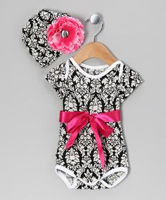Black Damask Bow Bodysuit & Beanie - Infant