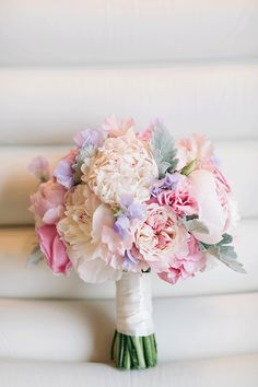 Romantic Bridal Bouquet with Peonies & Sweet Pea, Floral: Life in Bloom, Photo: Codrean Photography