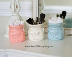 Set of Two Painted and Distressed Elite Mason by KatesLittleShop