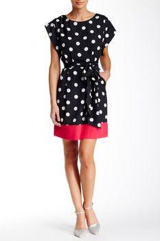 Eliza J Belted Dot Dress
