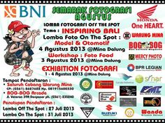 Inspiring Bali photographic competition. Entries close 27 July 2013 for off the spot and 31 July 2013 for on the spot. Exhibition at Mina Dalung, 1-4 August, 2013 #Bali #balinotforsale #photography