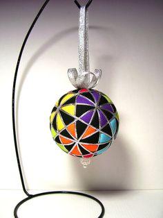 "Multicolored ""Pentagons all Around"" Kimekomi Christmas Ornament by Ornament Designs"