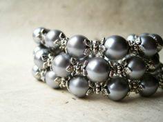 Silver Pearl Bracelet. Dove Gray Bridesmaid by PiggleAndPop, $17.00