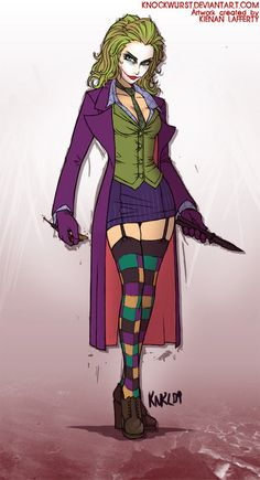 Female Joker Heath Ledger The Dark Knight rule 63 cosplay costume. $350.00, via Etsy.