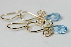Gold Aquamarine Earrings Wire Wrapped Jewelry by JessicaLuuJewelry