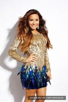 Demi Lovato and Matthew Williamson Sequin and Feather Dress