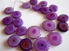 Unusual Purple Coin Stalactite Smooth focals 13mm-16mm Semi precious Gemstone Beads