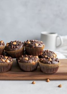 Healthy Chocolate Peanut Butter Muffins made with whole grain flour, no oil and dairy-free friendly. These are simple and quick and the perfect excuse to enjoy chocolate with breakfast. Gluten-free friendly using a 1-to-1 all-purpose flour.