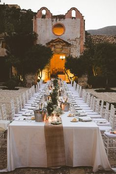 Candle lit outdoor reception in Italy