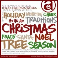 Thick Christmas Handdrawn Words Brushes and Stamps