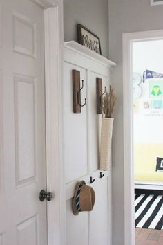 Want Board and Batten Walls? These Doable Ideas Are Brilliant! Move over shiplap, board and batten is here to stay. Want Board and Batten Walls? These Doable Ideas Are Brilliant! Move over shiplap, board and batten is here to stay. Rustic Coat Rack, Drop Zone, Vestibule, Door Makeover, Board And Batten, Entryway Decor, Wall Decor, Entryway Coat Rack, White Walls