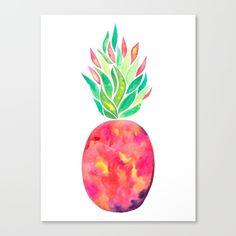 Watercolor Pineapple illustration. Food, botanical, plant, red...  #pineapple #pineappleart #watercolor #artist #canvas #wallart #art #interiordesign #interior #trendy #summer #tropical #botanical #vibrant #accessories #art